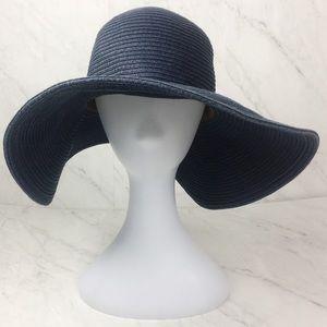 J. Crew Paper Straw Navy Blue Large Brim Sun Hat